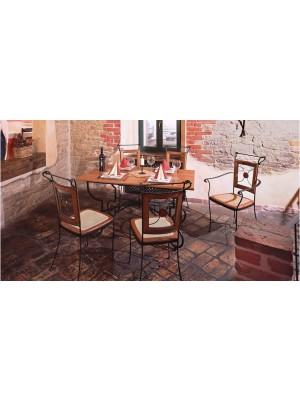 Masa din fier forjat cu blat din lemn Orleans
